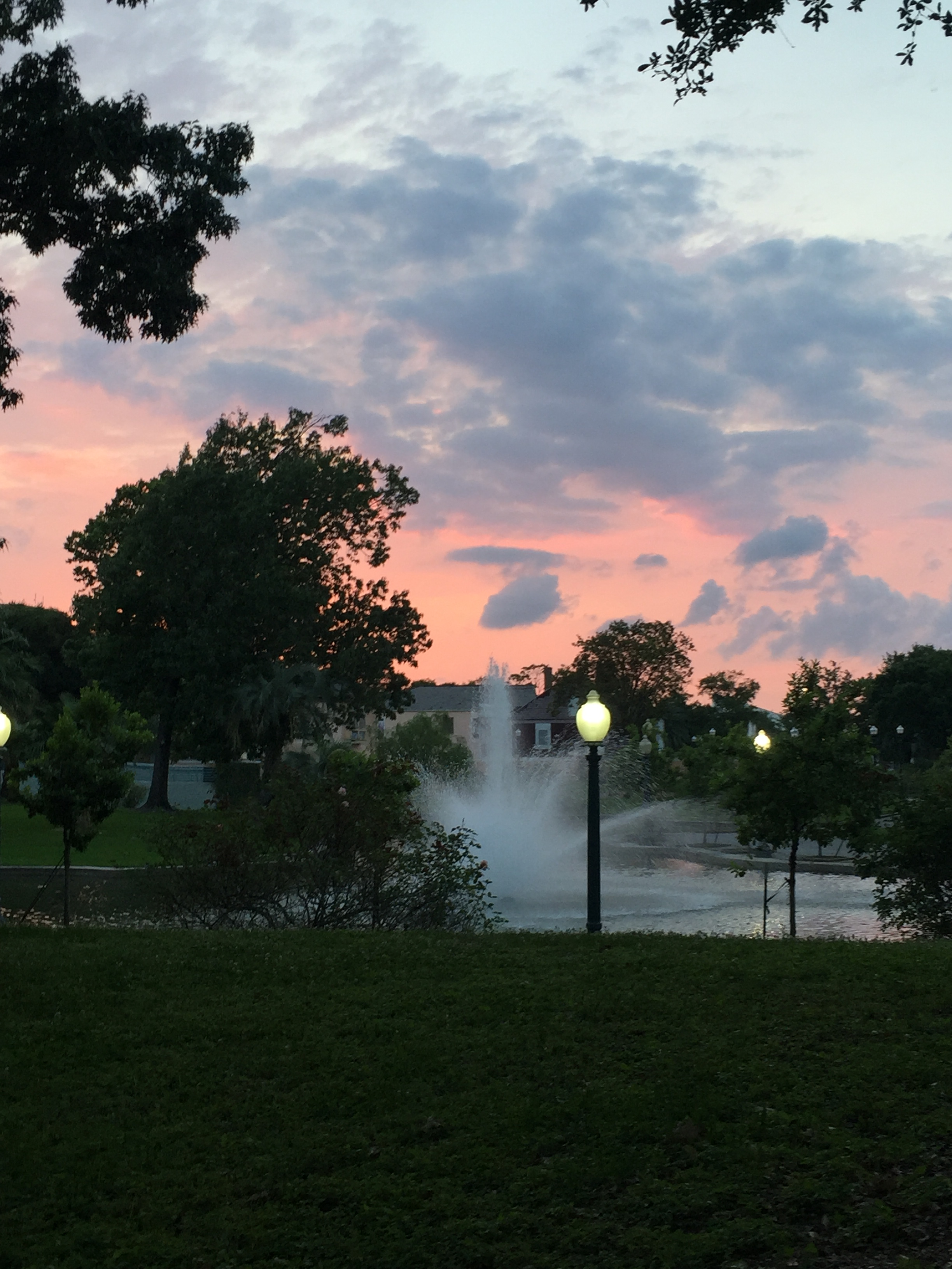Armstrong Park Fountain sunset